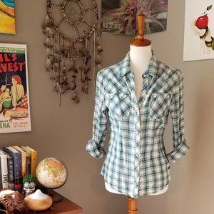 Tops - Green plaid shirt